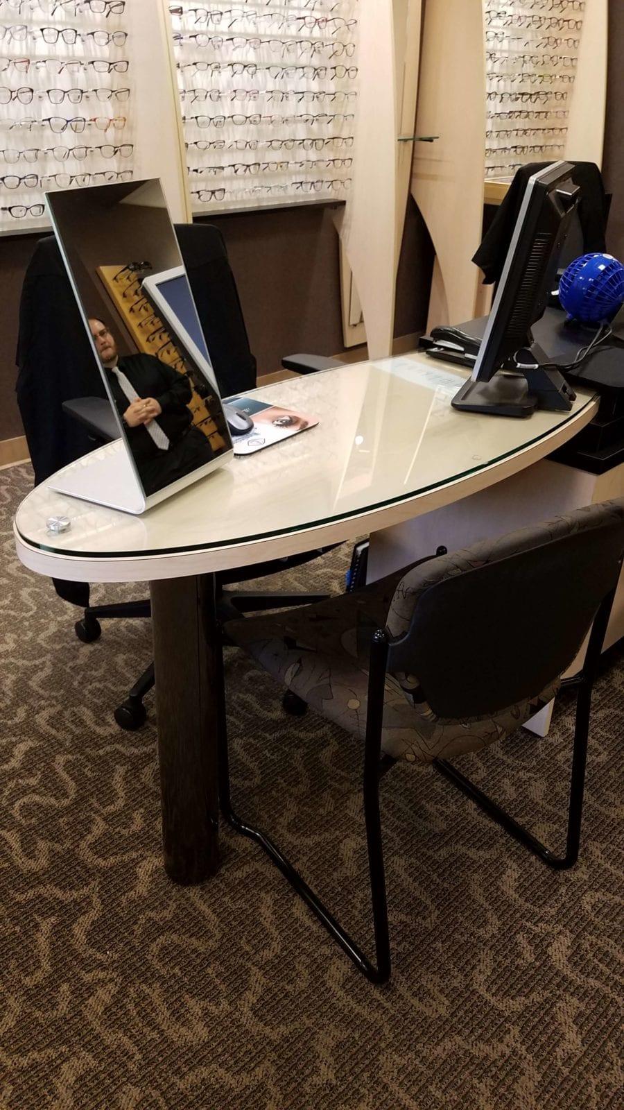 eye designs optical displays reception desk reception chairs